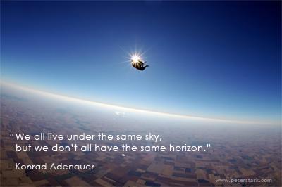 We all live under the same sky, but we don't all have the same horizon. – Konrad Adenauer | Peter Barron Stark Companies